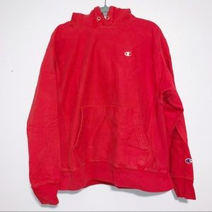[Champion] Reverse Weave Faded Red Hoodie - L